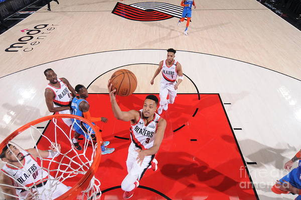 Playoffs Art Print featuring the photograph C.j. Mccollum by Sam Forencich