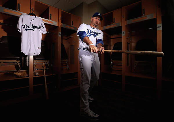 Media Day Art Print featuring the photograph Adrian Gonzalez by Christian Petersen