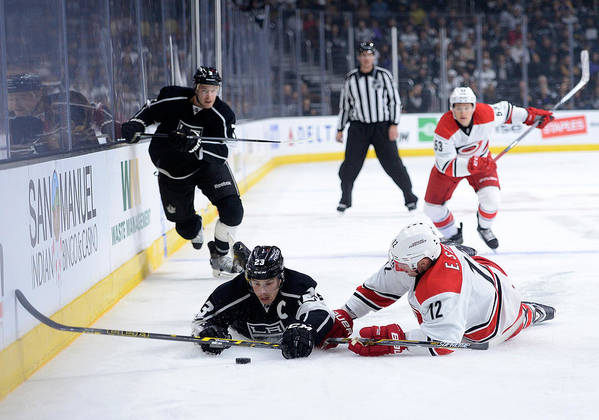 People Art Print featuring the photograph Carolina Hurricanes v Los Angeles Kings by Harry How