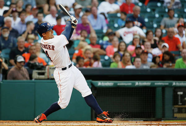 American League Baseball Art Print featuring the photograph George Springer by Scott Halleran