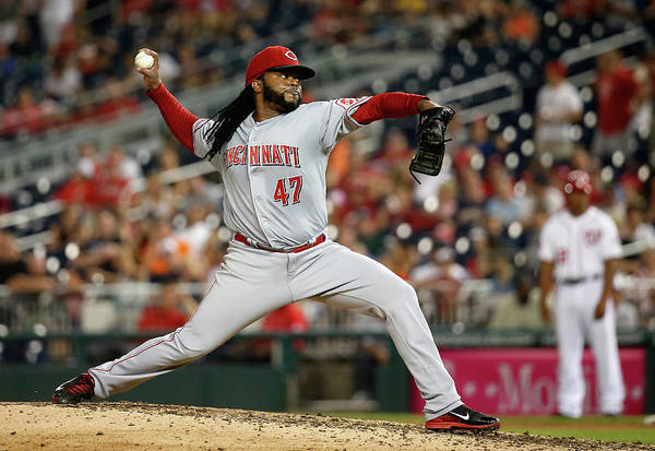 Ninth Inning Art Print featuring the photograph Johnny Cueto by Rob Carr