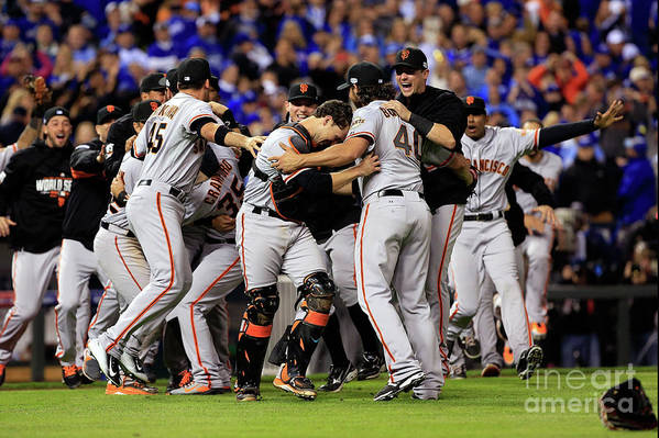 People Art Print featuring the photograph Madison Bumgarner and Buster Posey by Jamie Squire