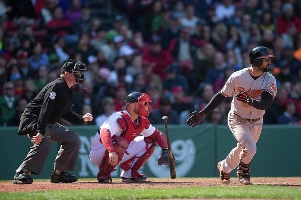 East Art Print featuring the photograph Nick Markakis by Rob Tringali