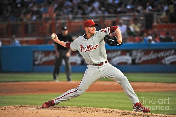 Hard Rock Stadium Art Print featuring the photograph Roy Halladay by Ronald C. Modra