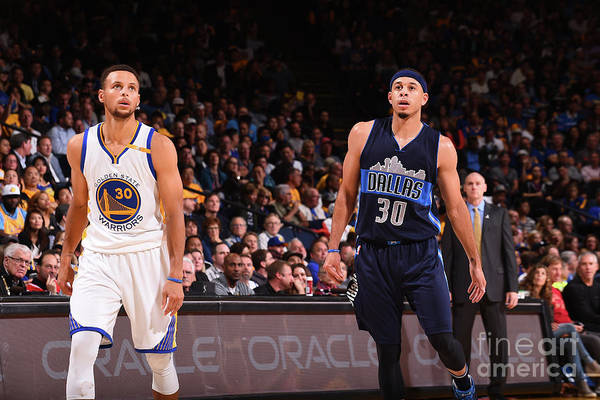 Nba Pro Basketball Art Print featuring the photograph Stephen Curry and Seth Curry by Noah Graham