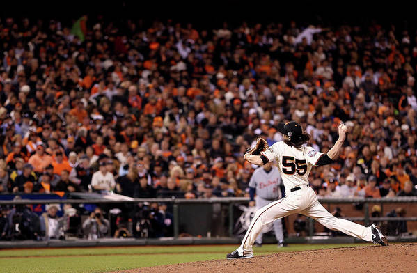San Francisco Art Print featuring the photograph Tim Lincecum by Christian Petersen