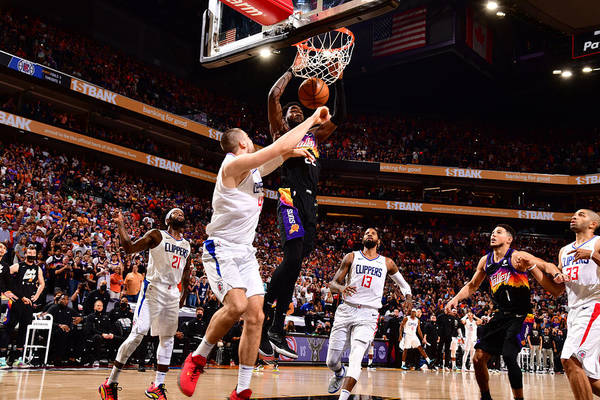 Playoffs Art Print featuring the photograph 2021 NBA Playoffs - LA Clippers v Phoenix Suns by Barry Gossage