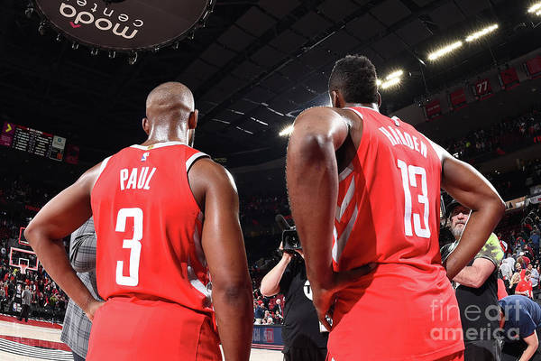 Nba Pro Basketball Art Print featuring the photograph Chris Paul and James Harden by Andrew D. Bernstein