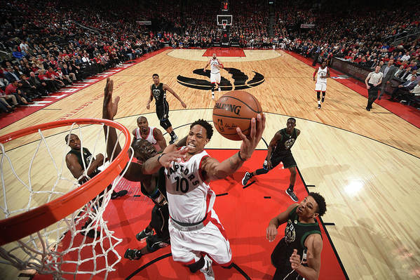 Playoffs Art Print featuring the photograph Demar Derozan by Ron Turenne