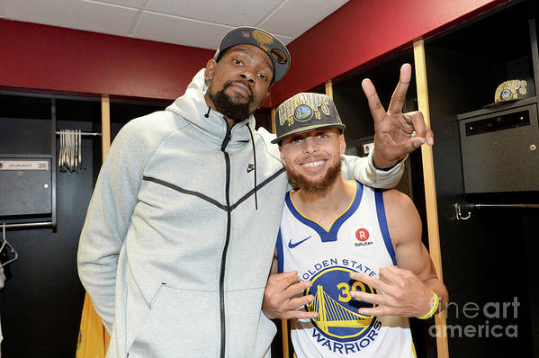 Playoffs Art Print featuring the photograph Stephen Curry and Kevin Durant by Andrew D. Bernstein
