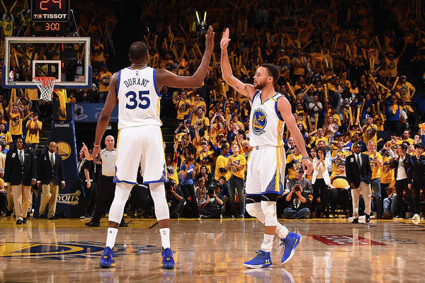 Playoffs Art Print featuring the photograph Stephen Curry and Kevin Durant by Noah Graham