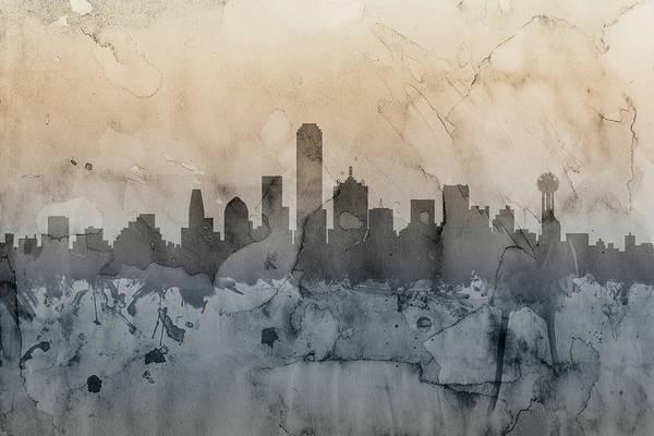 Dallas Art Print featuring the digital art Dallas Texas Skyline by Michael Tompsett