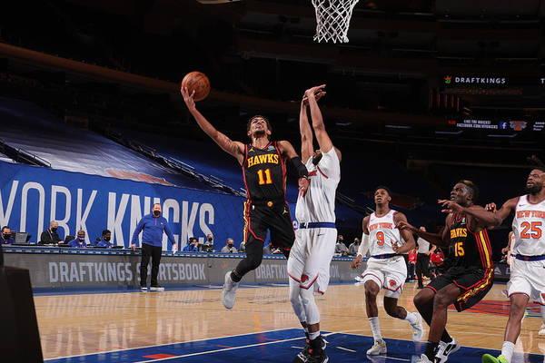 Nba Pro Basketball Art Print featuring the photograph Atlanta Hawks v New York Knicks by Nathaniel S. Butler