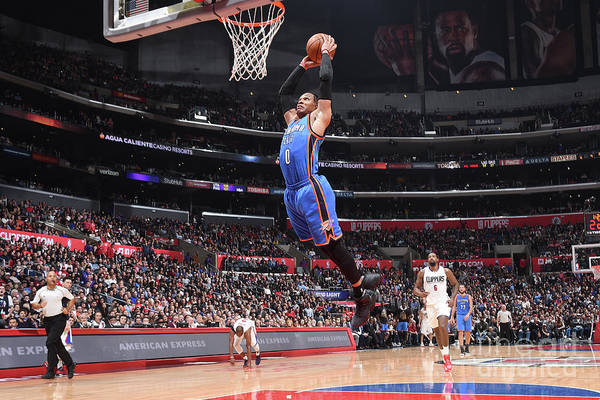 Nba Pro Basketball Art Print featuring the photograph Russell Westbrook by Andrew D. Bernstein