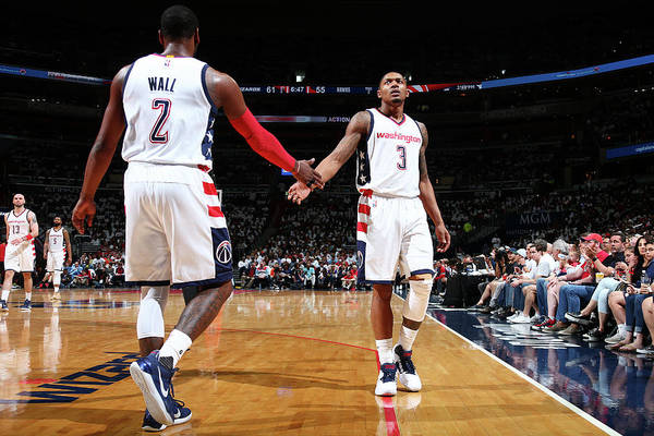 Playoffs Art Print featuring the photograph John Wall and Bradley Beal by Ned Dishman