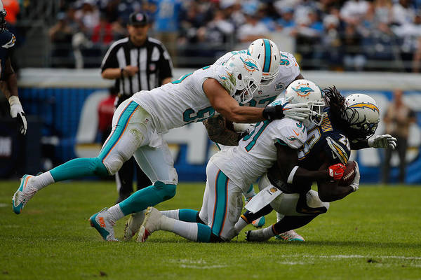 People Art Print featuring the photograph Miami Dolphins v San Diego Chargers by Sean M. Haffey