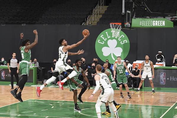 Nba Pro Basketball Art Print featuring the photograph Giannis Antetokounmpo by Brian Babineau