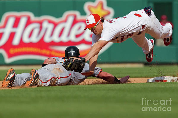 St. Louis Art Print featuring the photograph Aaron Rowand and Ryan Theriot by Dilip Vishwanat