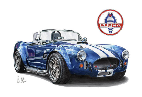Ac Art Print featuring the drawing Ac Cobra 427 by Clive Botha - The Cartist