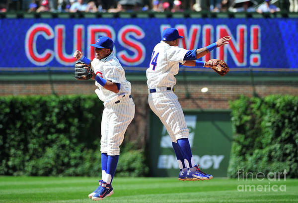 People Art Print featuring the photograph Addison Russell and Starlin Castro by David Banks