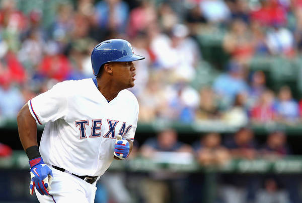Adrian Beltre Art Print featuring the photograph Adrian Beltre and Bruce Chen by Ronald Martinez