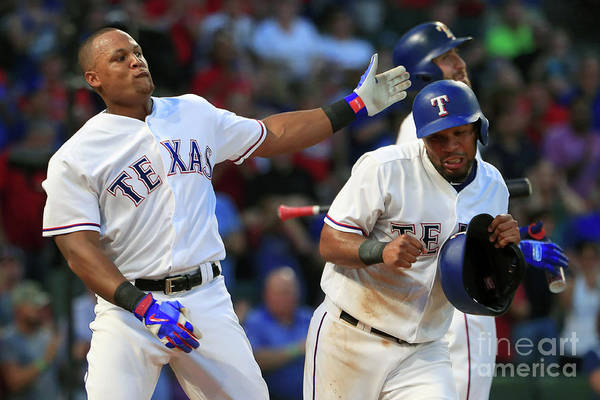 Headwear Art Print featuring the photograph Adrian Beltre and Elvis Andrus by Tom Pennington