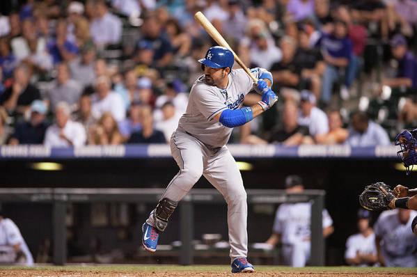 Los Angeles Dodgers Art Print featuring the photograph Adrian Gonzalez by Dustin Bradford
