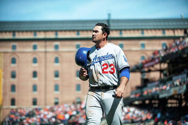 American League Baseball Art Print featuring the photograph Adrian Gonzalez by Rob Tringali
