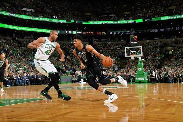 Playoffs Art Print featuring the photograph Al Horford and Giannis Antetokounmpo by Brian Babineau