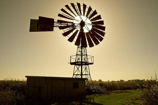 Outdoors Art Print featuring the photograph American-style windmill in backlight by Bernd Schunack
