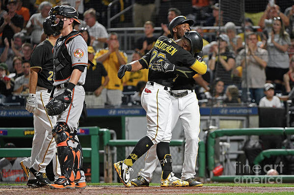 Second Inning Art Print featuring the photograph Andrew Mccutchen and Starling Marte by Justin Berl