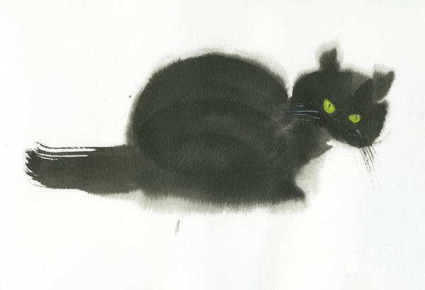 An Angry Cat With Green Eyes. This Is A Simple Contemporary Chinese Brush Painting On Rice Paper. Art Print featuring the painting Angry Cat by Mui-Joo Wee