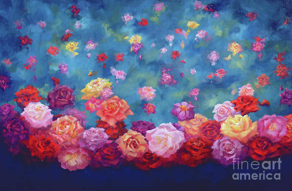 Anniversary Roses Art Print featuring the painting Anniversary by Lee Campbell