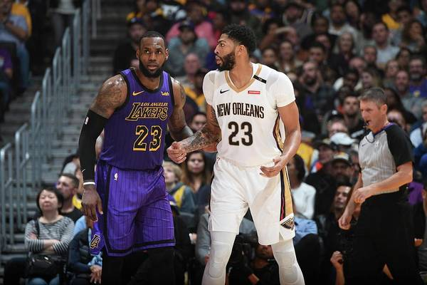Nba Pro Basketball Art Print featuring the photograph Anthony Davis and Lebron James by Andrew D. Bernstein