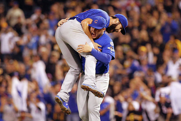 Playoffs Art Print featuring the photograph Anthony Rizzo and Jake Arrieta by Justin K. Aller