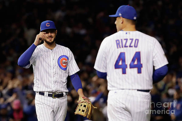 Three Quarter Length Art Print featuring the photograph Anthony Rizzo and Kris Bryant by Jamie Squire