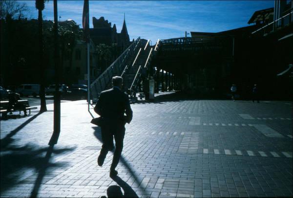 Steps Art Print featuring the photograph Australia, Sydney, Man Running Across City Square by Willie Schumann / EyeEm