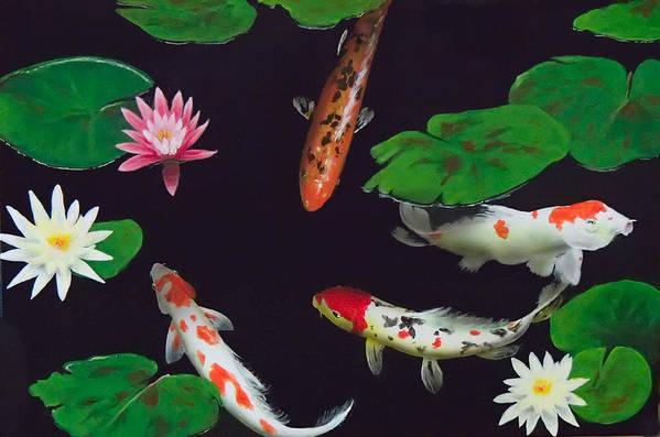 Koi Art Print featuring the painting Barbie's Koi pond by Philip Fleischer