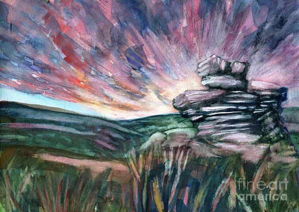 Watercolour Watercolour Painting Art Print featuring the painting Basin Rock Todmorden by Elizabetha Fox