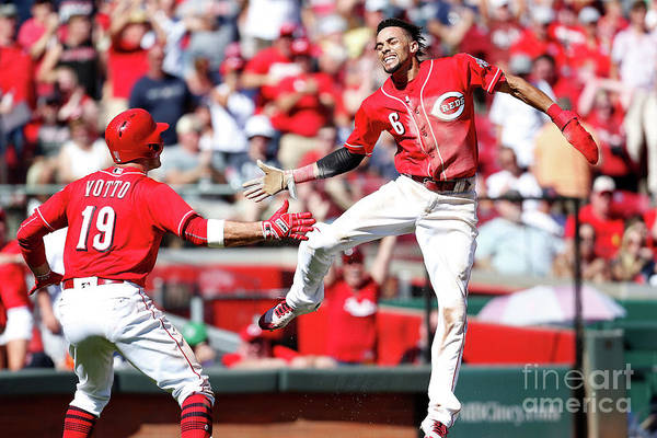 Great American Ball Park Art Print featuring the photograph Billy Hamilton and Joey Votto by Kirk Irwin