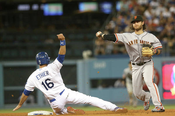 Double Play Art Print featuring the photograph Brandon Crawford and Andre Ethier by Stephen Dunn