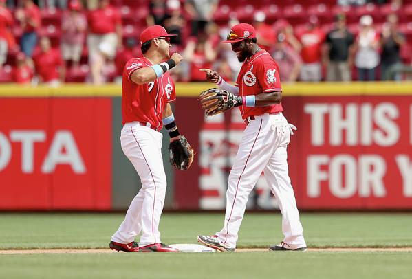 Great American Ball Park Art Print featuring the photograph Brandon Phillips and Eugenio Suarez by Andy Lyons