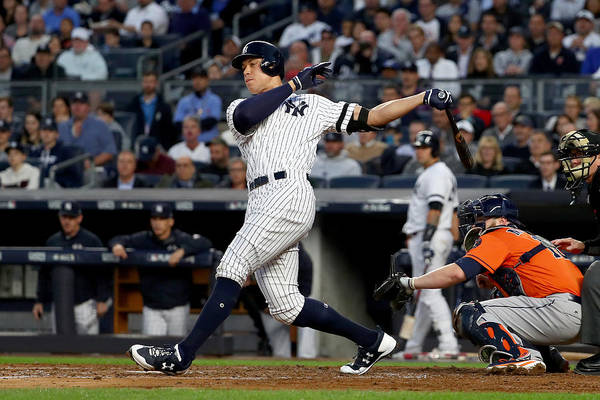 Championship Art Print featuring the photograph Brett Gardner and Aaron Judge by Al Bello