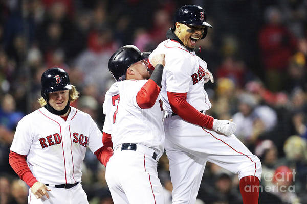 Three Quarter Length Art Print featuring the photograph Brock Holt and Mookie Betts by Maddie Meyer