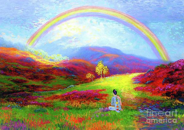 Meditation Art Print featuring the painting Buddha Chakra Rainbow Meditation by Jane Small