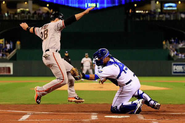 Salvador Perez Diaz Art Print featuring the photograph Buster Posey by Jamie Squire