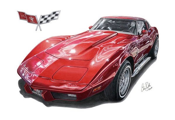 C3 Art Print featuring the drawing C3 Chevrolet Corvette by Clive Botha - The Cartist