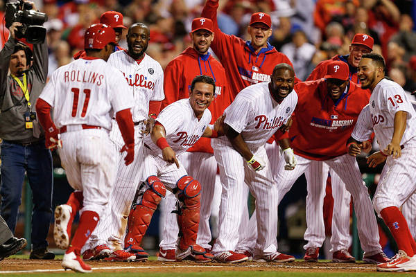 Tony Gwynn Jr. Art Print featuring the photograph Carlos Ruiz, Ryan Howard, and Jimmy Rollins by Brian Garfinkel
