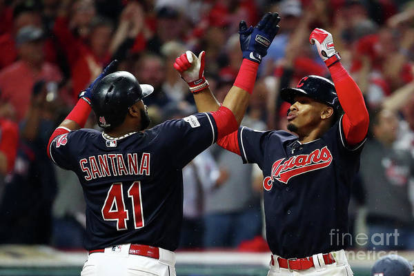 Game Two Art Print featuring the photograph Carlos Santana and Francisco Lindor by Gregory Shamus