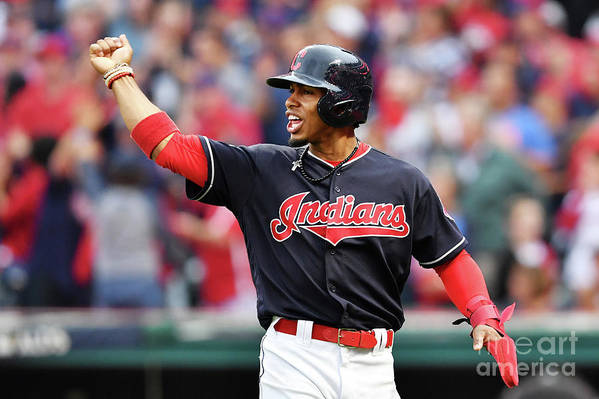 Game Two Art Print featuring the photograph Carlos Santana and Francisco Lindor by Jason Miller